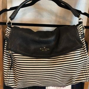Kate Spade Striped Leather and Canvas Purse